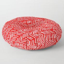 Scarlet Herringbone Lines Floor Pillow