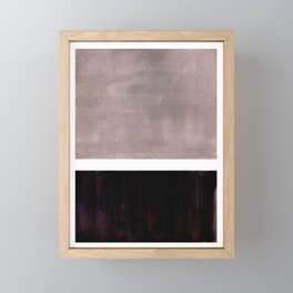 Mid Century Modern Minimalist Art Colorblock Rothko Inspired Squares Grey and Black Simple Abstract Framed Mini Art Print