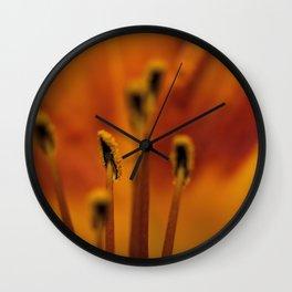 Orange Day Lily Macro Wall Clock
