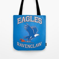 ravenclaw Tote Bags featuring Eagles Ravenclaw by Fresco Umbiatore