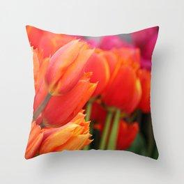 Cheery Tulips Throw Pillow