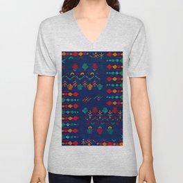 -A17- Anthropologie Moroccan Blue Artwork. Unisex V-Neck