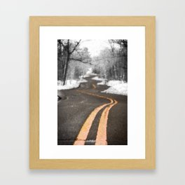 A Brush With Winter On A Winding Road Framed Art Print