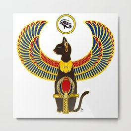 Winged Bast w/Ankh Metal Print