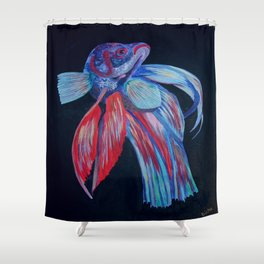 Male Siamese Fighting Fish Betta Splendens Shower Curtain