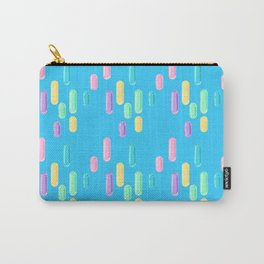 Pastel Candy Pill Pattern on Blue Carry-All Pouch