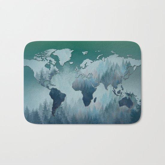 world map forest 4 Bath Mat