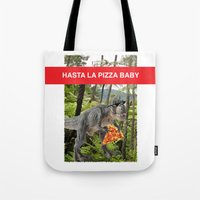 trex Tote Bags featuring PIZZA TREX!! by anthonykun