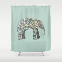 Elephant Paper Collage in Gray, Aqua and Seafoam Shower Curtain