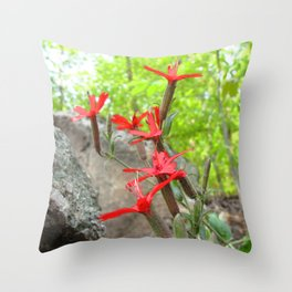 Watercolor Flower Fire Pink 01, Eno River, NC Throw Pillow