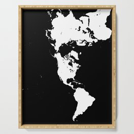 Dymaxion World Map (Fuller Projection Map) - Minimalist White on Black Serving Tray