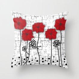Applique. Poppies on a bright white background . Throw Pillow