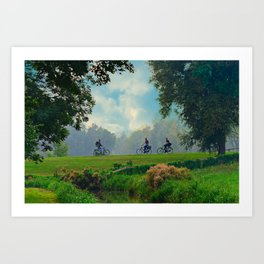 Cyclists On Country Road Art Print