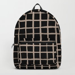 Strokes Grid - Nude on Black Backpack
