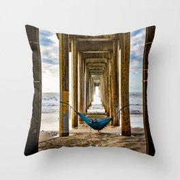 Scripps Pier Date  Throw Pillow