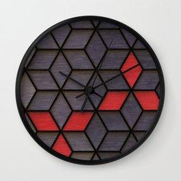 Grey Black Red Cubes Wall Clock