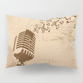 Retro microphone with grunge music concept Pillow Sham