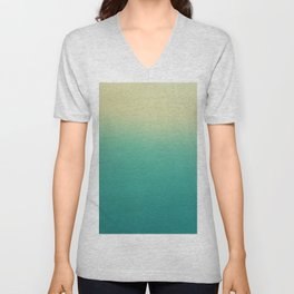 Modern turquoise lime green ombre color block pattern Unisex V-Neck