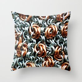 Copper And Steel Links Throw Pillow