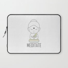 Gautama buddha sitting in lotus position with a message to Meditate Laptop Sleeve