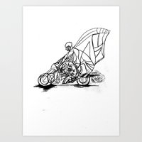 motorcycle Art Prints featuring Motorcycle. by sonigque