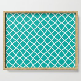 Turquoise and white curved grid pattern Serving Tray