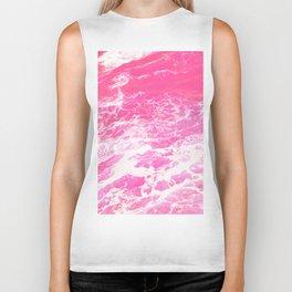 Pink Ocean Waves Biker Tank