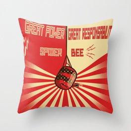 Spider-Bee Propaganda Throw Pillow