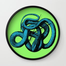 Snek 1 Snake Teal Turquoise Lime Green Wall Clock