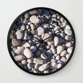 River stones on bank of Oregon river Wall Clock