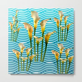 Calla Lilies  Blue Rippling Water Graphic Art Metal Print