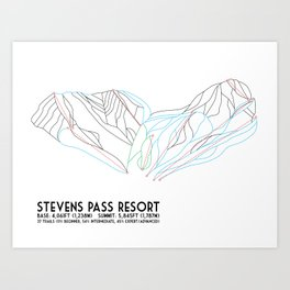 Stevens Pass, WA - Minimalist Trail Map Art Print
