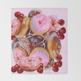 RED CHERRIES & PINK-CHOCOLATE FROSTED DONUTS Throw Blanket
