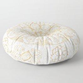 Stylish boho hand drawn golden mandala Floor Pillow
