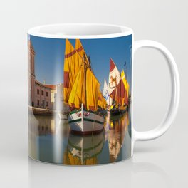 Italy Cesenatico Emilia Romagna Ships Rivers Sailing Cities Building ship river Houses Coffee Mug