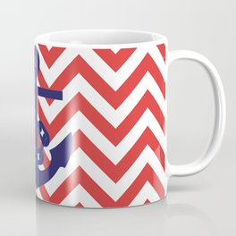 Blue Anchor on Red and White Chevron Pattern Coffee Mug
