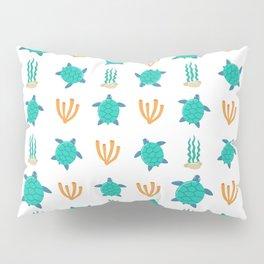 Cute turquoise orange turtle nautical coral reef floral Pillow Sham