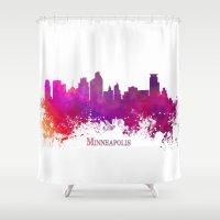 minneapolis Shower Curtains featuring Minneapolis skyline purple by jbjart