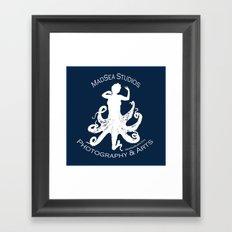 MadSea Nymph, white on blue Framed Art Print