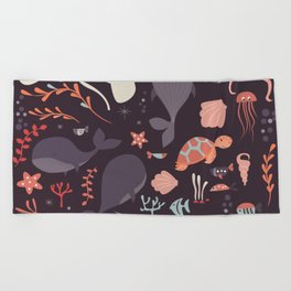 Sea creatures 002 Beach Towel