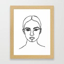 Model face line drawing - Bobbi Framed Art Print