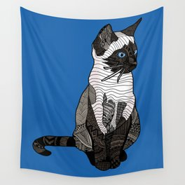 Siamese Cat Zentangle in Blue Wall Tapestry