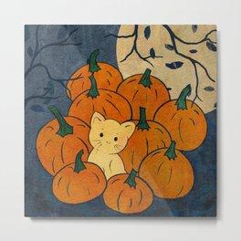 Cute Cat in the Pumpkin Patch Metal Print