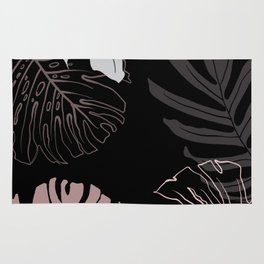 monstera leaves on black drawing Rug