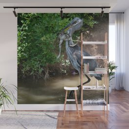 Great_Blue_Heron Catching Huge Frog - 2 Wall Mural