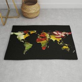 World Map Silhouette - Vegetable Salad Rug