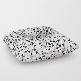 Terrazzo Stone Pattern Black and Orange Peach Floor Pillow
