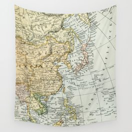 China, Russia, Japan Vintage Map Wall Tapestry