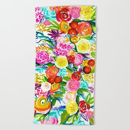 Bright Colorful Floral painting Beach Towel