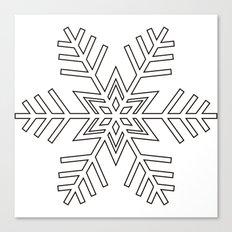 Snowflake | Black and White Canvas Print